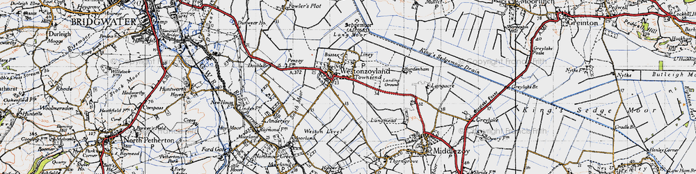 Old map of Westonzoyland in 1946