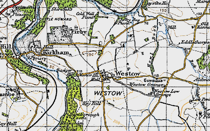 Old map of Westow Low Grange in 1947