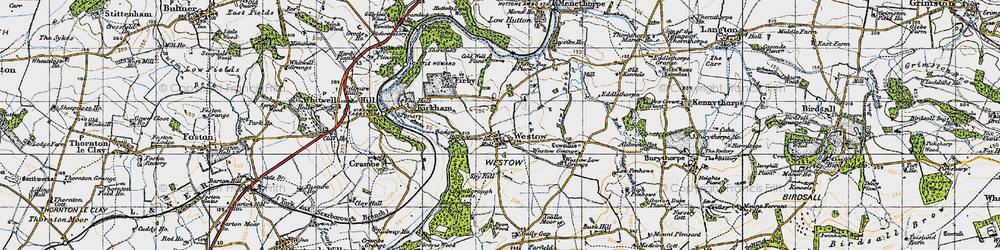 Old map of Westow Grange in 1947