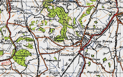 Old map of Westra in 1947