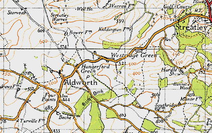 Old map of Westridge Green in 1947