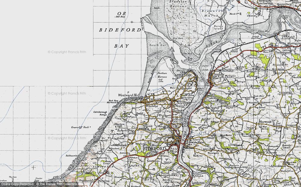 Old Map of Westward Ho!, 1946 in 1946