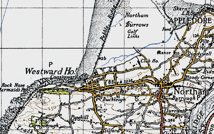 Old map of Westward Ho! in 1946