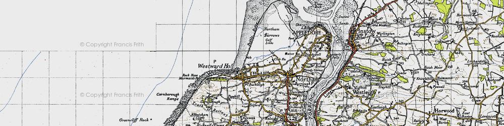 Old map of Westward Ho! in 1946