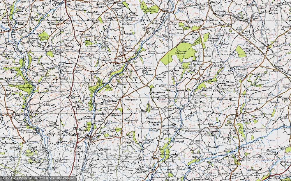 Old Map of Historic Map covering Westweek in 1946
