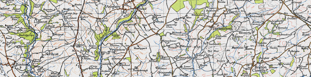 Old map of Westweek Barton in 1946
