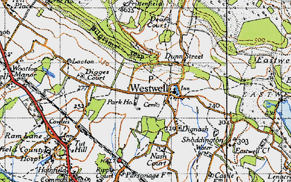 Old map of Westwell in 1940