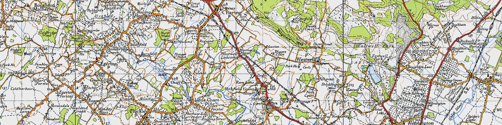 Old map of Westwell Leacon in 1940