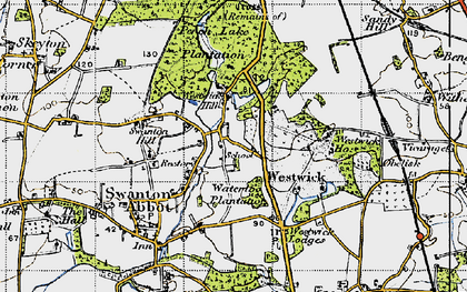 Old map of Westwick in 1945