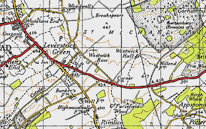 Old map of Westwick Hall in 1946