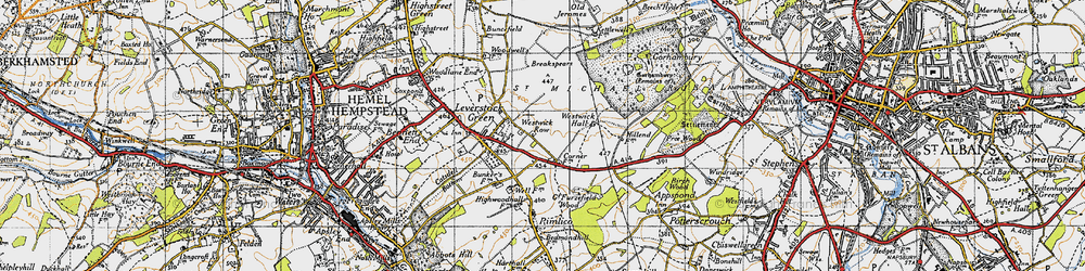 Old map of Westwick Row in 1946