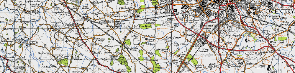 Old map of Westwood Heath in 1947