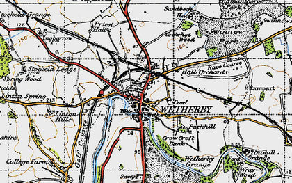 Old map of Wetherby in 1947