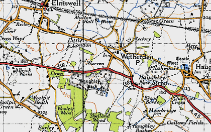 Old map of Wetherden in 1946