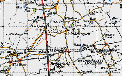 Old map of Wetheringsett in 1946