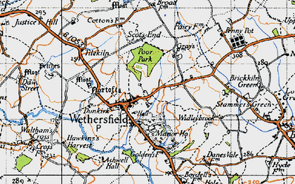 Old map of Wethersfield in 1945