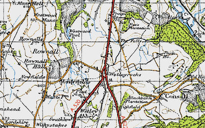 Old map of Wetley Rocks in 1946