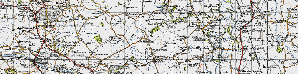 Old map of Wettenhall in 1947