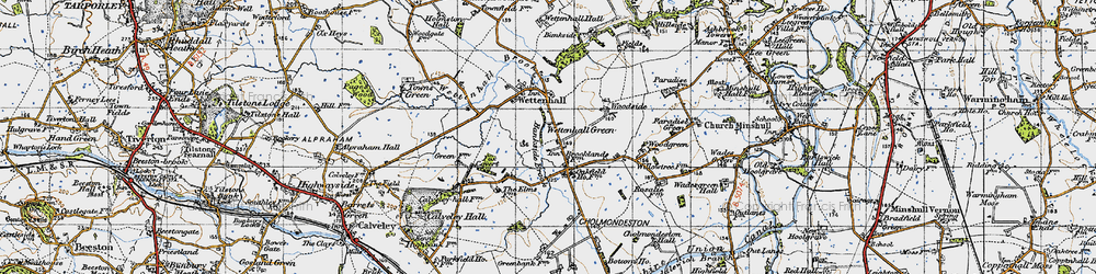 Old map of Wettenhall Green in 1947