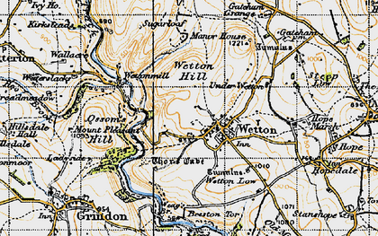 Old map of Wetton Hill in 1947