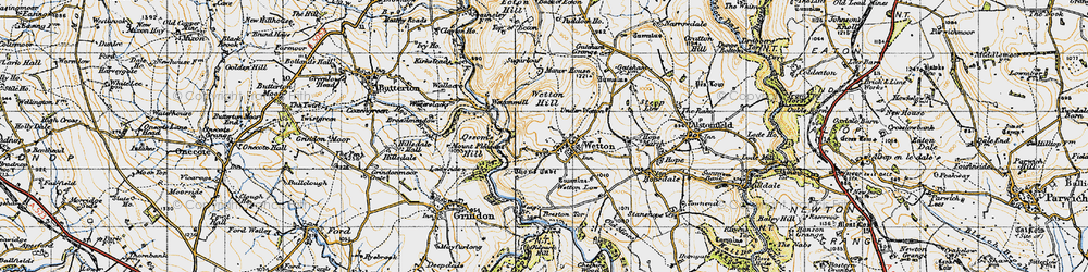 Old map of Wettonmill in 1947