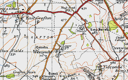Old map of Wexcombe Down in 1940