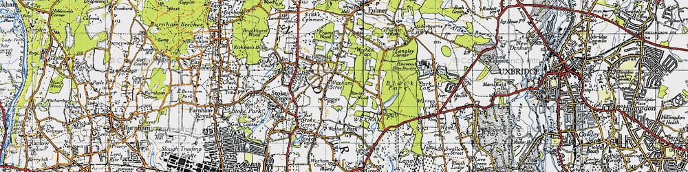 Old map of Wexham Street in 1945
