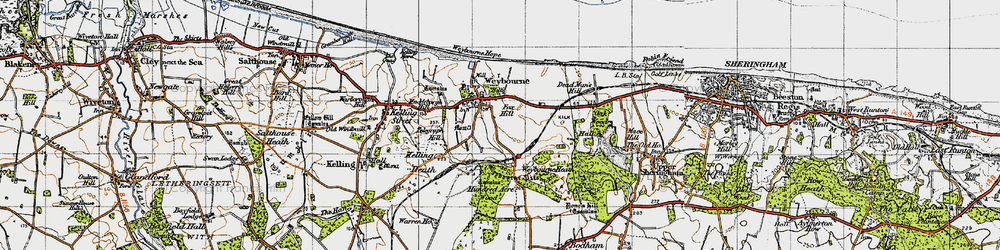 Old map of Weybourne Hope in 1945