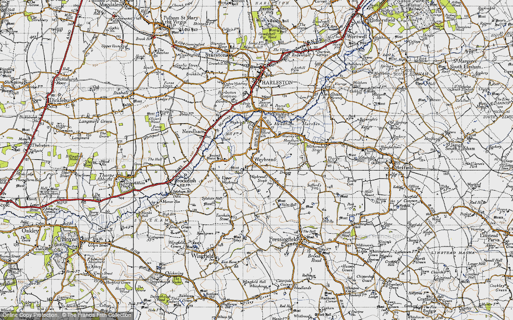 Old Map of Weybread, 1946 in 1946