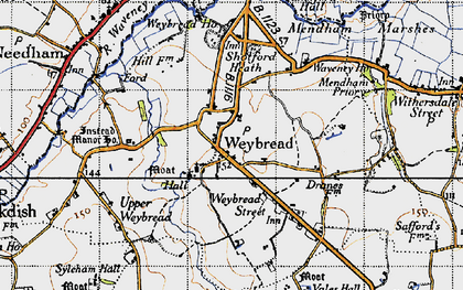 Old map of Weybread in 1946