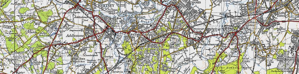 Old map of Weybridge in 1940