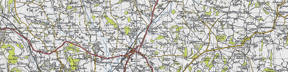 Old map of Weycroft in 1945