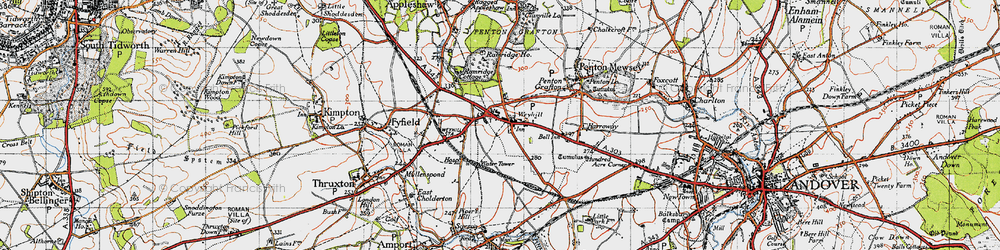 Old map of Weyhill in 1945