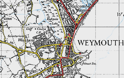 Old map of Weymouth in 1946