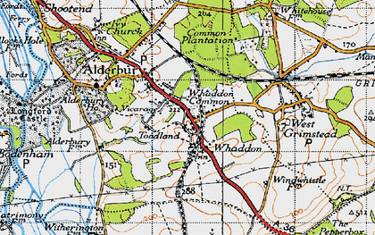 Old map of Whaddon in 1940