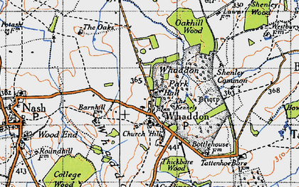 Old map of Whaddon Chase in 1946