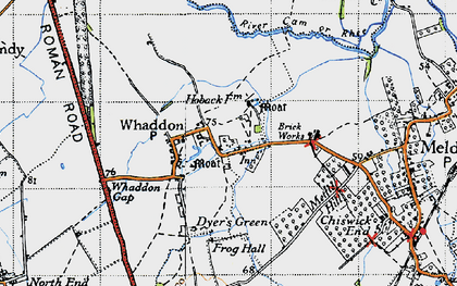 Old map of Whaddon in 1946