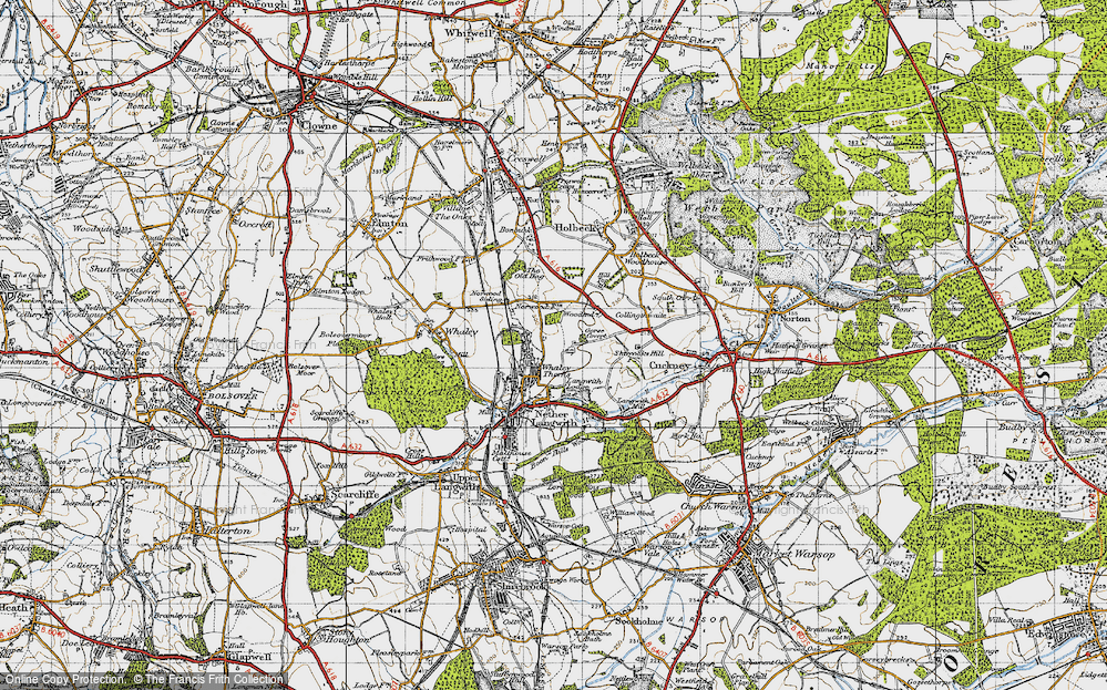 Old Map of Whaley Thorns, 1947 in 1947