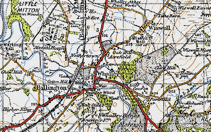 Old map of Whalley in 1947