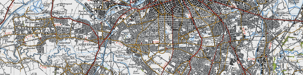 Old map of Whalley Range in 1947