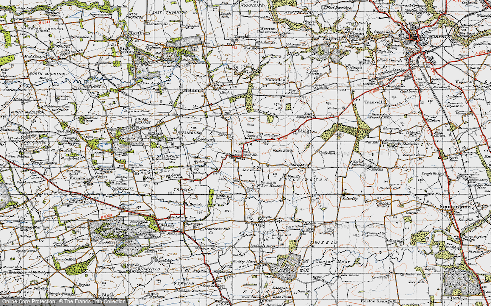 Old Map of Whalton, 1947 in 1947