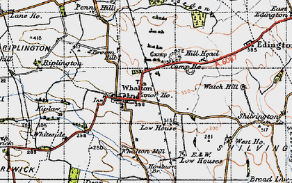 Old map of Whalton in 1947