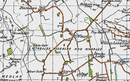 Old map of Wharles in 1947