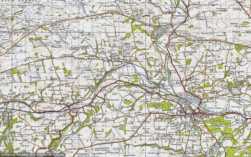 Old Map of Historic Map covering Langhope in 1947
