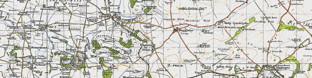 Old map of Wharram le Street in 1947