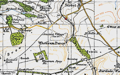 Old map of Wharram Percy Village in 1947