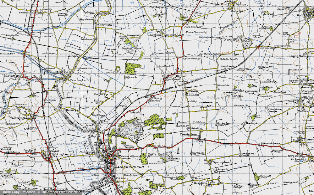Old Map of Wharton, 1947 in 1947