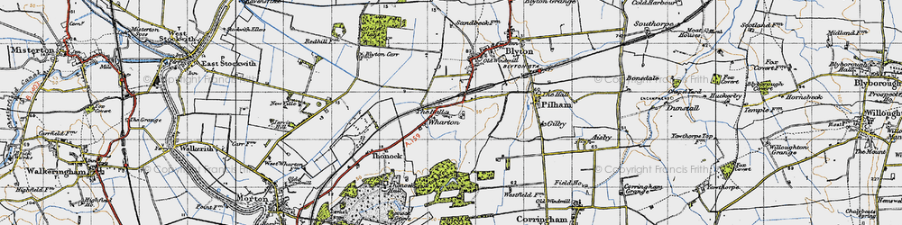 Old map of Wharton Wood in 1947