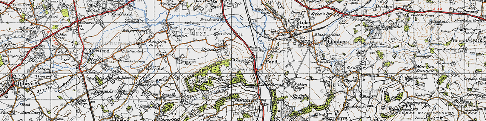 Old map of Wharton in 1947