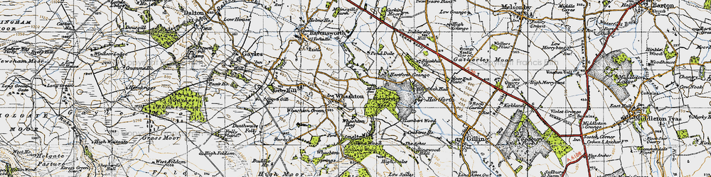 Old map of Whashton in 1947